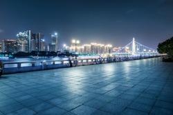 Guangzhou bridge at night in China