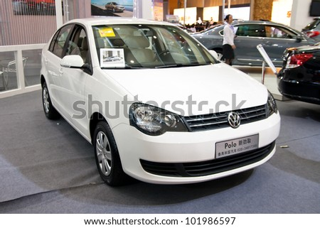 GUANGZHOU, CHINA - APR 28: VOLKSWAGEN POLO white car on display at the 2012 Guangzhou daily BaiYun INT'L Auto-expo,on April 28, 2012 in Guangzhou China,This is a large international car exhibition