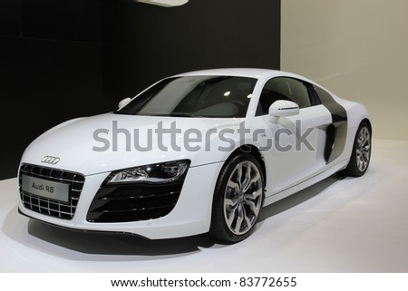 GUANGZHOU, CHINA - DEC 27: AN Audi R8 car on display at the 8th China international automobile exhibition on December 27, 2010 in Guangzhou China.