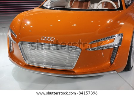 GUANGZHOU, CHINA - DEC 27: Audi e-tron car on display at the 8th China international automobile exhibition on December 27, 2010 in Guangzhou China.
