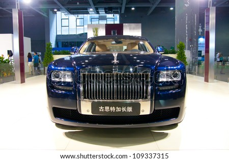 GUANGZHOU, CHINA - JUL 29: ROLLS ROYCE Ghost car on 2012 Guangzhou Imported Luxury Automobile Exhibition,on July 29, 2012 in Guangzhou China,This is a large international car exhibition