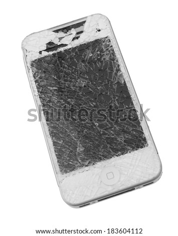 GuangZhou, China - March 25, 2014: Photo of a broken  iPhone 4. iPhone 4 is a smartphone developed by Apple Inc. It is part of the iPhone line. iPhone is world favorite smartphone.