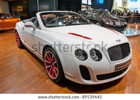 Bentley on Guangzhou  China   Nov 25  Bentley White Sport Car On The 9th China