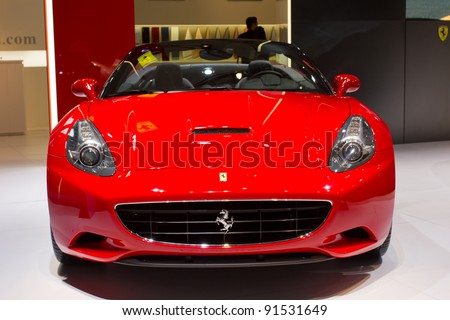 GUANGZHOU, CHINA - NOV 26: Ferrari California car on display at the 9th China international automobile exhibition. on November 26, 2011 in Guangzhou China.