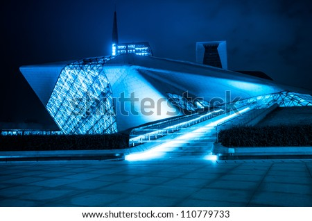 GUANGZHOU, CHINA - NOV. 5: Guangzhou Opera House night  landscape on Nov. 05, 2011 in Guangzhou, China,designed by architect Zaha Hadid and has become one of the seven new landmarks in Guangzhou