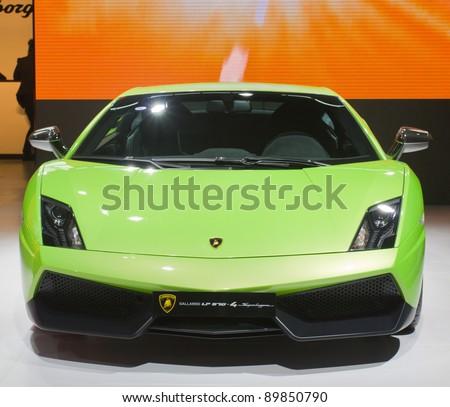 GUANGZHOU, CHINA - NOV 26:Lamborghini Gallardo LP 570-4 Superleggera Sports car on display at the 9th China international automobile exhibition. on November 26, 2011 in Guangzhou China.