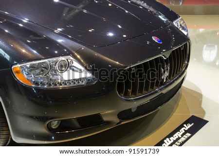 GUANGZHOU, CHINA - NOV 26: Maserati Quattroporte Sports car on display at the 9th China international automobile exhibition. on November 26, 2011 in Guangzhou China. - stock photo