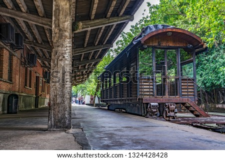 GUANGZHOU, CHINA - OCTOBER 19: View of  an old railway platform station at Redtory Art and Design Factory on October 19, 2018 in Guangzhou #1324428428