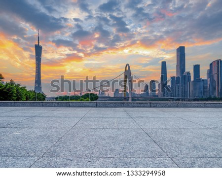 Guangzhou downtown skyline and unmanned floor #1333294958