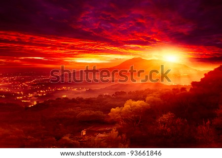 Guanyin Mountain Sunrise, the new Taipei, Taiwan - stock photo