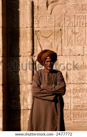 guard at edfu temple in egypt