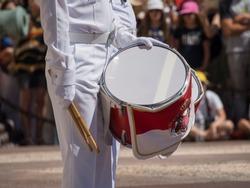 Guard change at Prince's Palace of Monaco  A drummer at the guard change at the Prince's Palace of Monaco. The Prince's Palace of Monaco is the official residence of the Prince of Monaco.