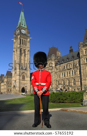 Guard on duty in front of Canada's Parliament Building