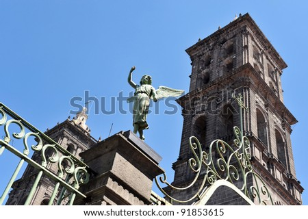 Guardian angel above Mexican Catholic Church in Puebla city Mexico.