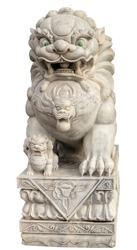 Guardian Lion Foo Dog Female Marble Sculpture Garden Carvings Feng Shui