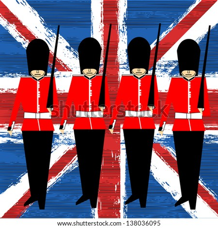 Guardsmen Marching Over A Union Jack background for a British Royal Event
