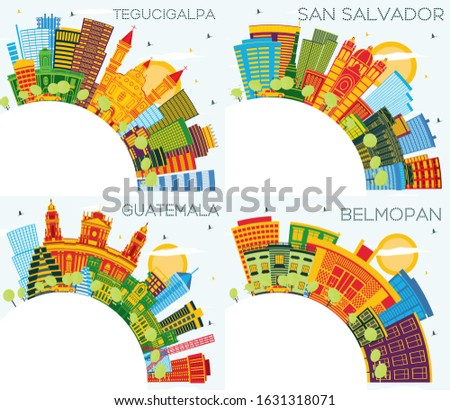 Guatemala, San Salvador, Belmopan Belize and Tegucigalpa Honduras City Skylines with Color Buildings, Blue Sky and Copy Space. Business Travel and Tourism Concept with Modern Architecture. Cityscapes.