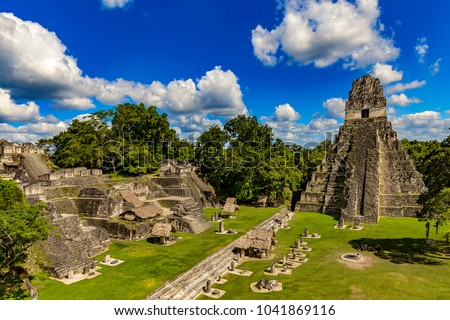 Guatemala. Tikal National Park on UNESCO World Heritage Site since 1979). The Grand Plaza with the North Acropolis and Temple I (Great Jaguar Temple)