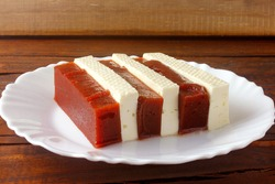 Guava candy with cheese. Brazilian dessert known as romeo and juliet. Selective focus