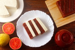 Guava candy with cheese from minas. Goiabada with cheese, Brazilian dessert known as romeo and juliet. Selective focus