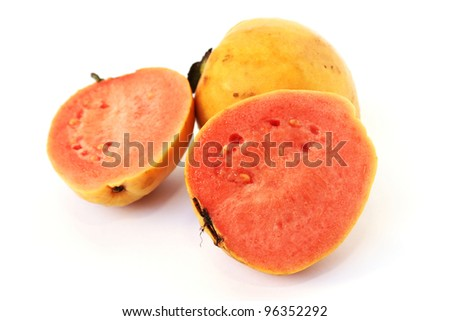 Guava fruit isolated on white background.