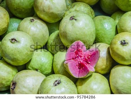 guava on the market, full-frame