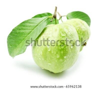 Guavas with leaves - stock photo
