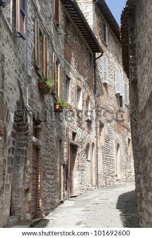 Gubbio (Perugia, Umbria, Italy), typical old street