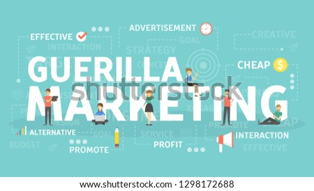 Guerilla marketing concept illustration. Idea of profit and advertising.