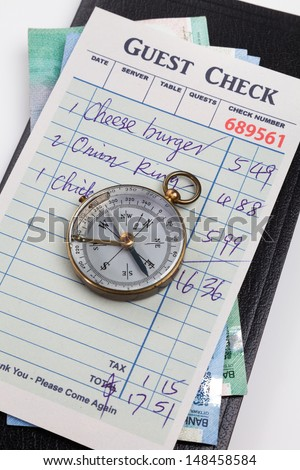 Guest Check and compass, concept of restaurant expense.