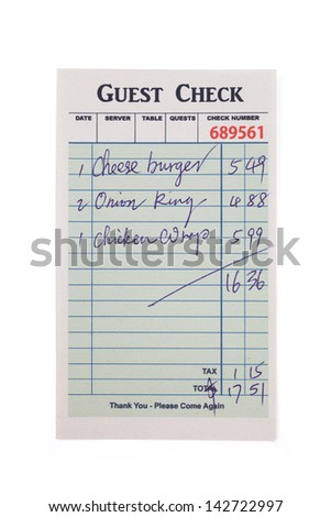 Guest Check, concept of restaurant expense. Fake Guest Check,