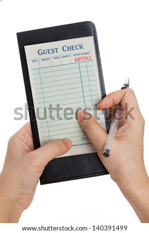 Guest Check, concept of restaurant taking orders.