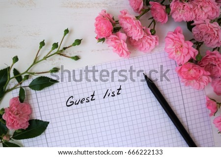 Guest list with small roses covered #666222133