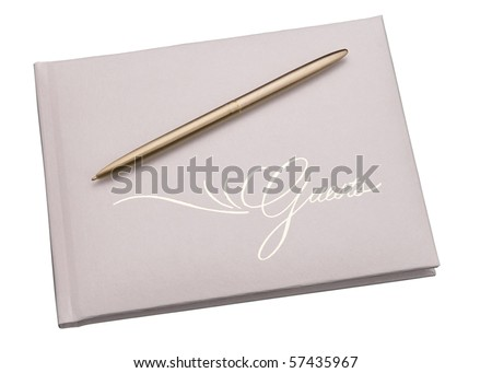 guests book with gold pen