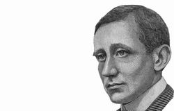 Guglielmo Marconi face Portrait from Italy Banknotes.