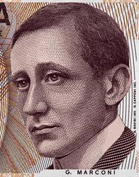 Guglielmo Marconi face portrait on Italy 2000 lira banknote (1990) close up, Italian money macro. Inventor of radio.
