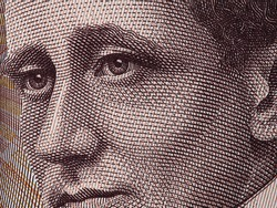 Guglielmo Marconi face portrait on Italy 2000 lira banknote (1990) extreme macro, Italian money closeup. Inventor of radio.