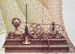 Guglielmo Marconi radio telegraph machine transmitter on Italy 2000 lira banknote (1990) extreme macro, Italian money closeup.