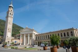 Guglielmo Marconi square, the central square of Valdobbiadene, a town in the province of Treviso, veneto, Italy
