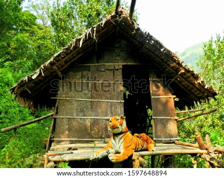 Guide house at Rural Bhutan where fake tiger was used as guiding Scarecrow