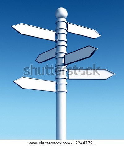 Guide sign. A signpost of directions on blue sky