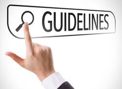 Guidelines written in search bar on virtual screen