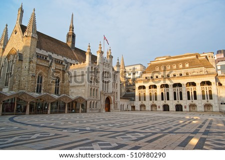 Guildhall complex with Guildhall and Guildhall Art Gallery in the City of London in the UK.