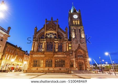 Guildhall in Derry. Derry, Northern Ireland, United Kingdom.