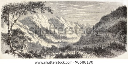 Guill valley old view, French Alps. Created by De Bar after Muston, published on L'Illustration, Journal Universel, Paris, 1858