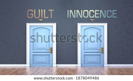 Guilt and innocence as a choice - pictured as words Guilt, innocence on doors to show that Guilt and innocence are opposite options while making decision, 3d illustration Stock photo ©