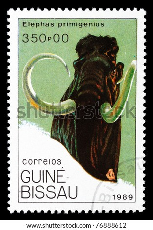 Guine-Bissau - CIRCA 1989: A stamp printed in Cuba shows Elephas primigenius, series devoted to prehistoric animals, circa 1989
