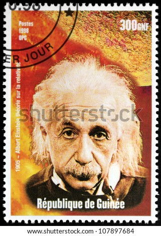 GUINEA CIRCA 1998 A postage stamp printed by GUINEA shows image portrait of famous American physicist Albert Einstein 1879-1955 circa 1998.
