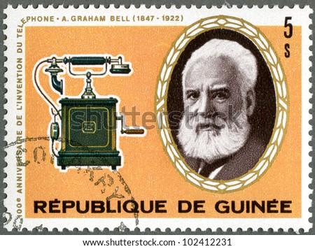 GUINEA - CIRCA 1976: A stamp printed by Guinea shows Alexander Graham Bell (1847-1922), telephone, circa 1976