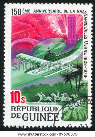GUINEA CIRCA - 1979: A stamp printed by Guinea, shows Jules Verne story, The Borsac Mission, circa 1979